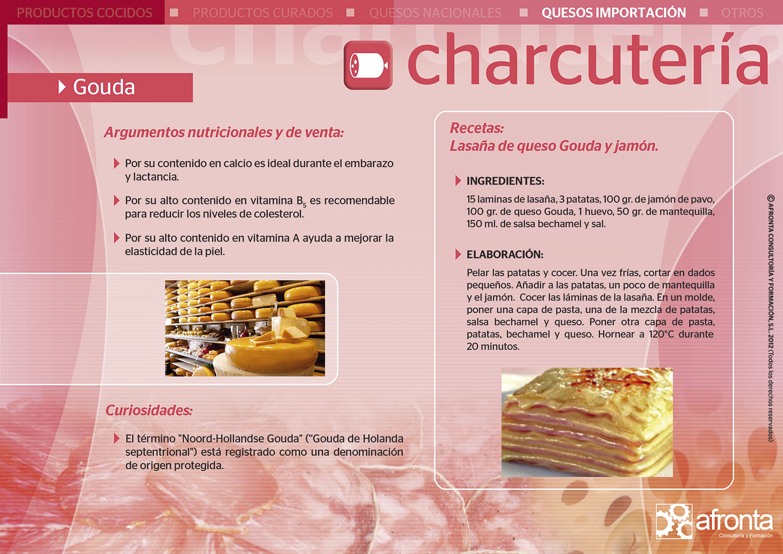 Ficha de producto de Charcutería para la venta de frescos: Queso Gouda - Afronta Consultoría