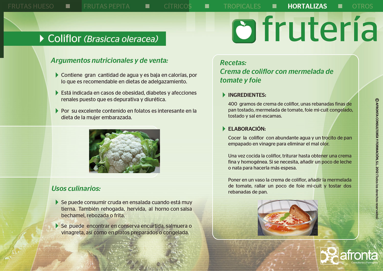 Ficha de producto de Frutería para la venta de frescos: Coliflor (Brasicca oleracea) - Afronta Consultoría